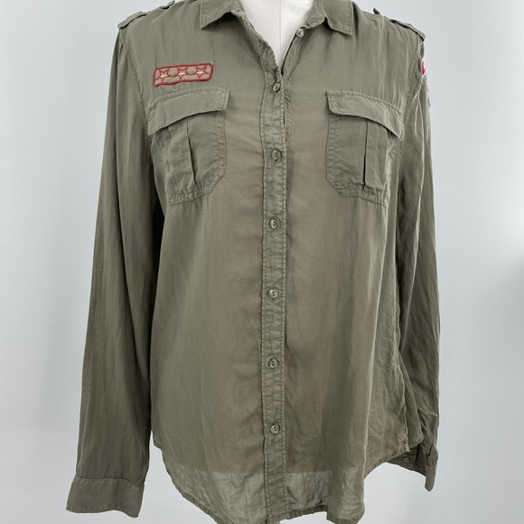 American Eagle military chambray olive blouse